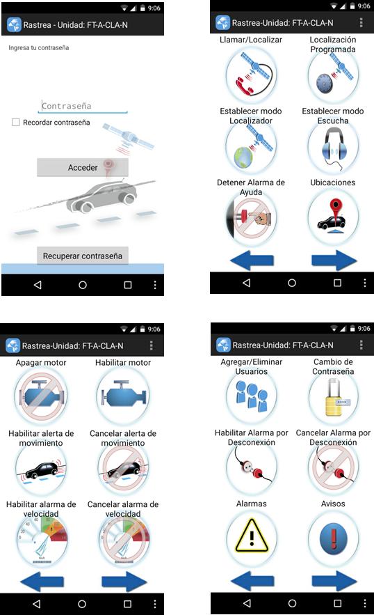 Tomas de pantalla de nuestra App para manipulación del localizador